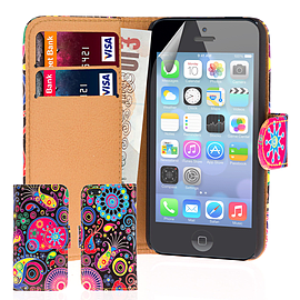 Apple iPhone 5/5s Stylish Design PU Leather Wallet Case - Jellyfish Mobile phones