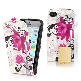 Apple iPhone 5/5s Stylish Design PU Leather Flip Case - Purple Rose Mobile phones
