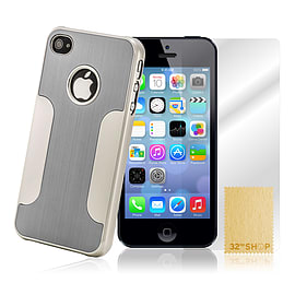 Apple iPhone 5/5s Brushed Aluminium Hard Back Case - Silver Mobile phones