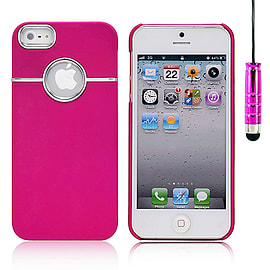 Apple iPhone 5/5s Chrome Hard Back Case - Hot Pink Mobile phones