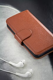 Apple iPhone 5/5s Genuine Premium Leather Wallet Case - Light Brown Mobile phones