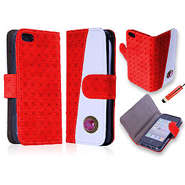 Apple iPhone 5/5s PU Leather Ruby Wallet Case - Red Mobile phones