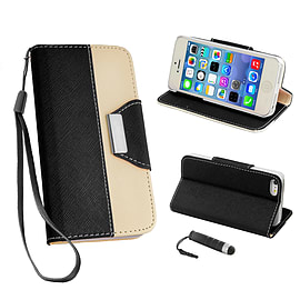 Apple iPhone 5/5s PU Leather Two Tone Wallet Case - Black Mobile phones