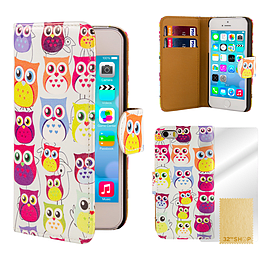 Apple iPhone 5/5s PU Leather Cute Owl Design Case - Multi Owl Mobile phones