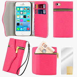 Apple iPhone 5/5s PU Leather Zip Wallet Case - Hot Pink Mobile phones