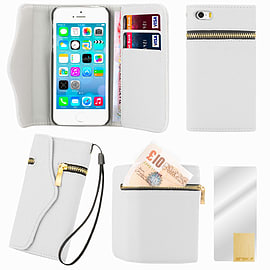 Apple iPhone 5/5s PU Leather Zip Wallet Case - White Mobile phones