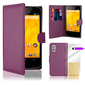 LG Google Nexus 4 Stylish PU Leather Wallet Case - Purple Mobile phones
