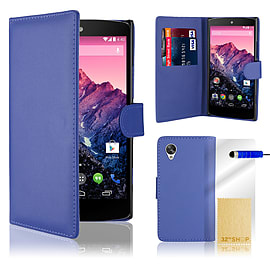 LG Google Nexus 5 Stylish PU Leather Wallet Case - Deep Blue Mobile phones