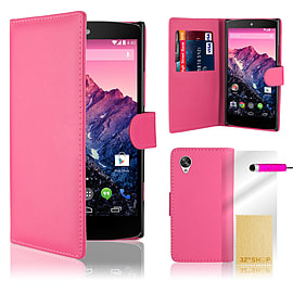 LG Google Nexus 5 Stylish PU Leather Wallet Case - Hot Pink Mobile phones