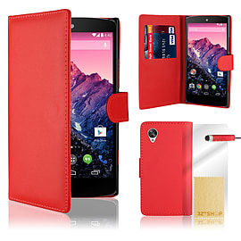 LG Google Nexus 5 Stylish PU Leather Wallet Case - Red Mobile phones
