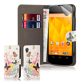 LG Google Nexus 5 Stylish PU Leather Design Wallet Case - Colour Butterfly Mobile phones