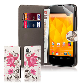 LG Google Nexus 5 Stylish PU Leather Design Wallet Case - PurpleRose Mobile phones