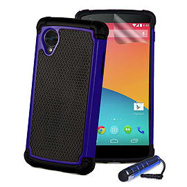LG Google Nexus 5 Dual Layer Shockproof Protective Case - Deep Blue Mobile phones
