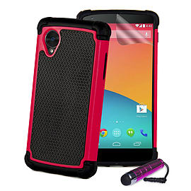LG Google Nexus 5 Dual Layer Shockproof Protective Case - Hot Pink Mobile phones