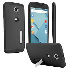 LG Google Nexus 6 Slim Armour Shockproof Stand Case - Black Mobile phones