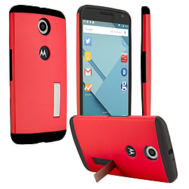 LG Google Nexus 6 Slim Armour Shockproof Stand Case - Red Mobile phones
