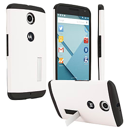 LG Google Nexus 6 Slim Armour Shockproof Stand Case - White Mobile phones