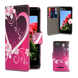 Sony Xperia M2 Stylish PU Leather Design Book Case - Love Heart Mobile phones