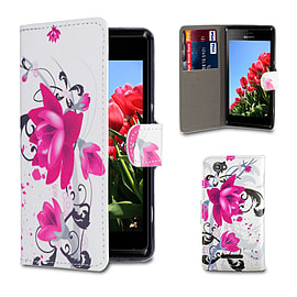 Sony Xperia M2 Stylish PU Leather Design Book Case - Purple Rose Mobile phones