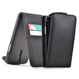 Sony Xperia M2 Stylish PU Leather Flip Case - Black Mobile phones