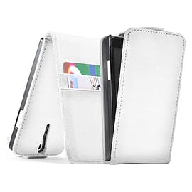 Sony Xperia M2 Stylish PU Leather Flip Case - White Mobile phones