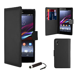 Sony Xperia Z1 Stylish PU Leather Wallet Case - Black Mobile phones