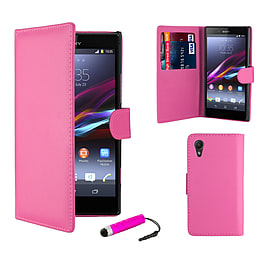 Sony Xperia Z1 Stylish PU Leather Wallet Case - Hot Pink Mobile phones