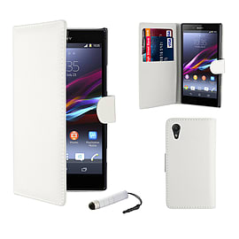 Sony Xperia Z1 Stylish PU Leather Wallet Case - White Mobile phones