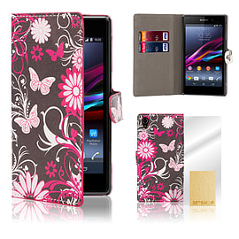 Sony Xperia Z1 Stylish PU Leather Design Book Case - Gerbera Mobile phones