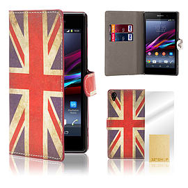 Sony Xperia Z1 Stylish PU Leather Design Book Case - Union Jack Mobile phones