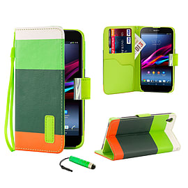 Sony Xperia Z1 Stylish PU Leather Multi Stripe Case - Green Mobile phones