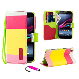 Sony Xperia Z1 Stylish PU Leather Multi Stripe Case - Hot Pink Mobile phones