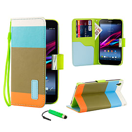 Sony Xperia Z1 Stylish PU Leather Multi Stripe Case - Light Blue Mobile phones