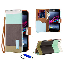 Sony Xperia Z1 Stylish PU Leather Multi Stripe Case - Turquoise Mobile phones