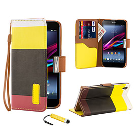 Sony Xperia Z1 Stylish PU Leather Multi Stripe Case - Yellow Mobile phones