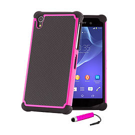 Sony Xperia Z1 Dual Layer Shockproof Case - Hot Pink Mobile phones