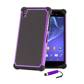 Sony Xperia Z1 Dual Layer Shockproof Case - Purple Mobile phones