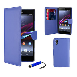 Sony Xperia Z1 Compact Stylish PU Leather Wallet Case - Deep Blue Mobile phones