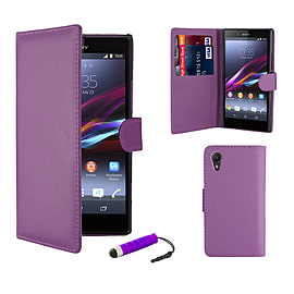 Sony Xperia Z1 Compact Stylish PU Leather Wallet Case - Purple Mobile phones