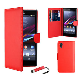 Sony Xperia Z1 Compact Stylish PU Leather Wallet Case - Red Mobile phones