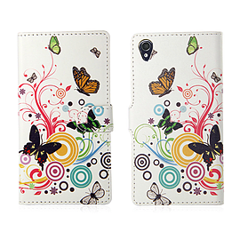 Sony Xperia Z1 Compact Stylish PU Leather Design Book Case - Colour Butterfly Mobile phones
