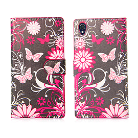 Sony Xperia Z1 Compact Stylish PU Leather Design Book Case - Gerbera Mobile phones