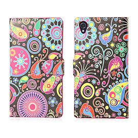 Sony Xperia Z1 Compact Stylish PU Leather Design Book Case - Jellyfish Mobile phones