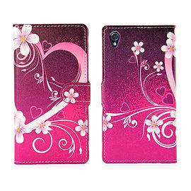 Sony Xperia Z1 Compact Stylish PU Leather Design Book Case - Love Heart Mobile phones