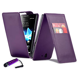 Sony Xperia Z1 Compact Stylish PU Leather Flip Case - Purple Mobile phones