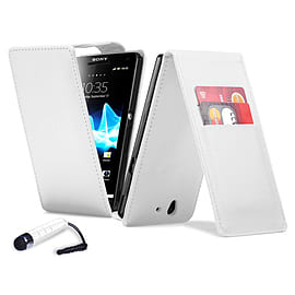 Sony Xperia Z1 Compact Stylish PU Leather Flip Case - White Mobile phones