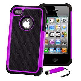 Apple iPhone 4/4s Dual Layer Shockproof Case - Purple Mobile phones