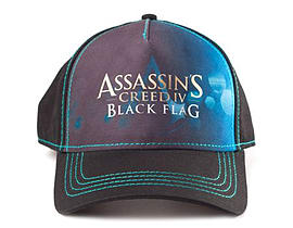 Assassin's Creed Iv Black Flag Adjustable Cap With Print Logo, Black Clothing