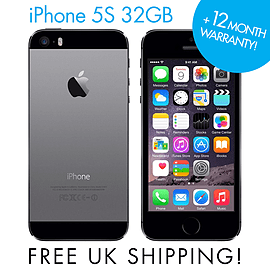 Apple iPhone 5S Grey 32GB (Unlocked) SIM FREE Smartphone GRADE A Phones