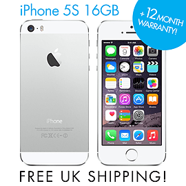Apple iPhone 5S Silver 16GB (Unlocked) SIM FREE Smartphone GRADE A Phones